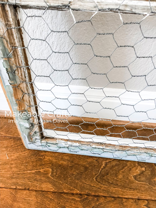 Repurpose Old Windows | Work your way around with your chicken wire
