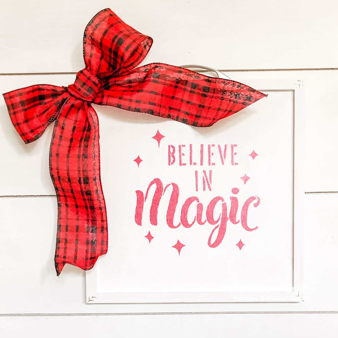 double sided craft room sign | Finished Believe Sign