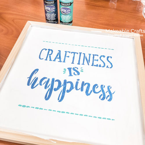 double sided craft room sign | Finishing stencil
