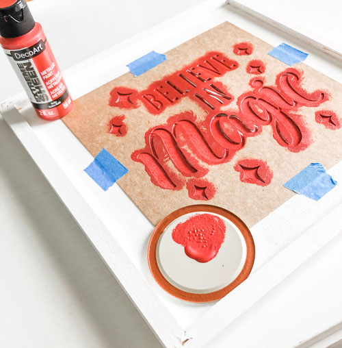 double sided craft room sign | red painting
