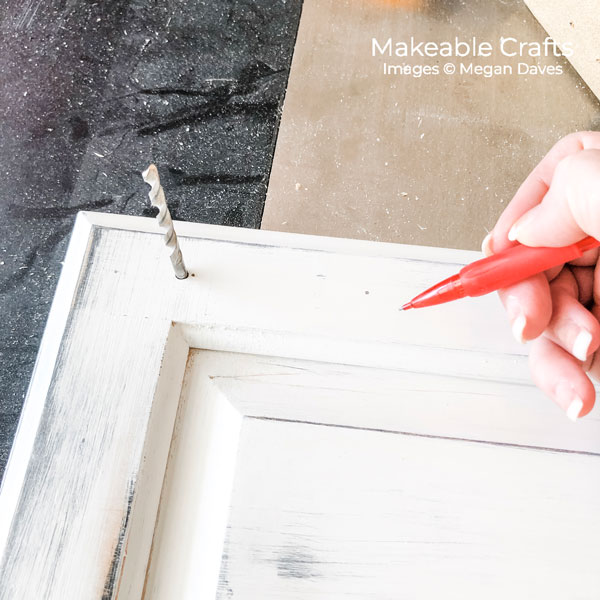 Old Cabinet Door Craft Ideas | measure and mark for drilling