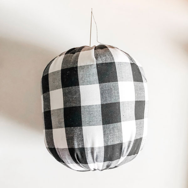 fabric pumpkins | doll needle to cinch up pumpkin