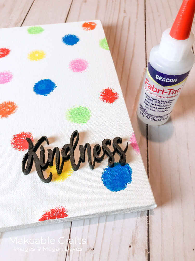 adhering lettering on canvas
