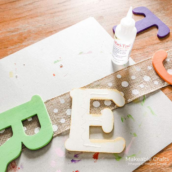 adhering your letters for your vertical garland
