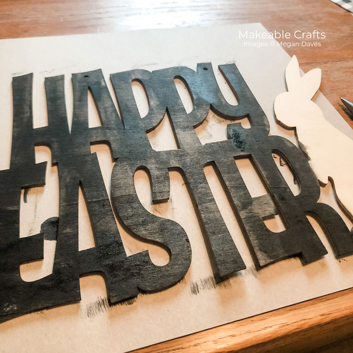 words painted black for farmhouse Easter sign