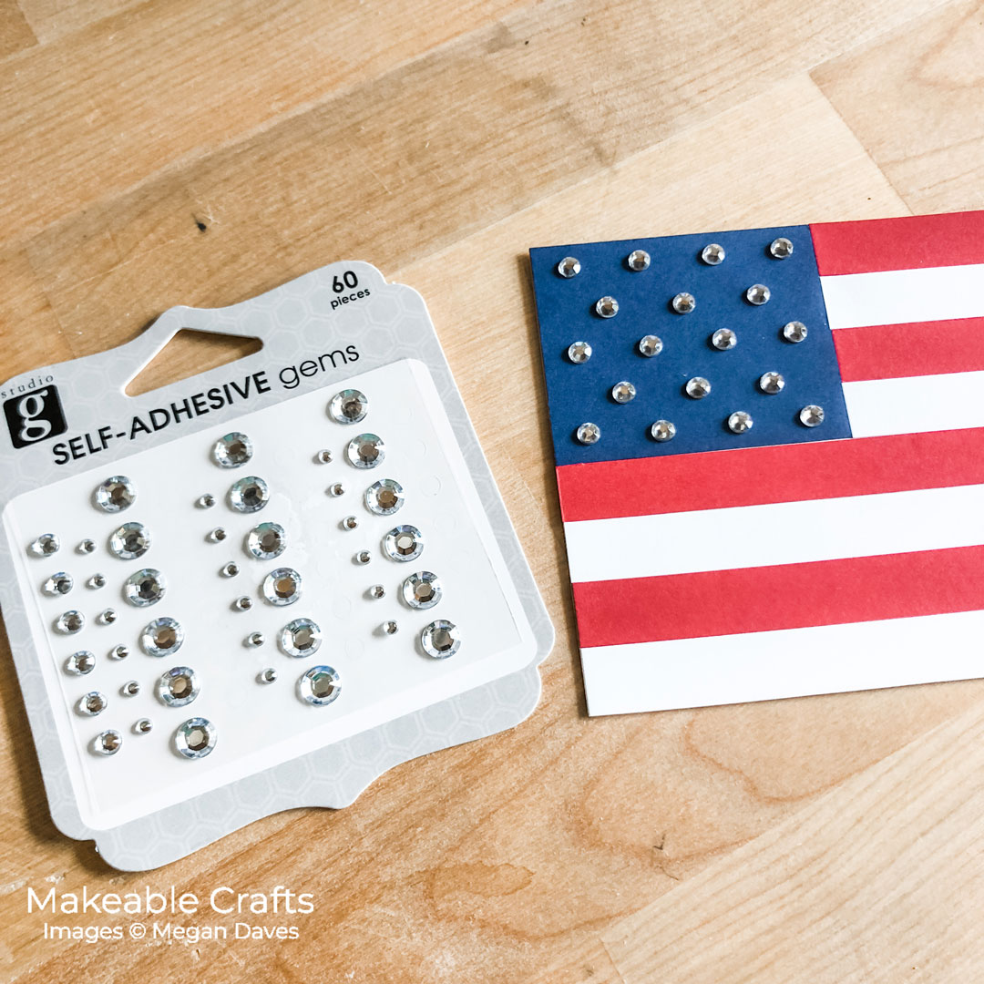 add gems to your paper craft american flag