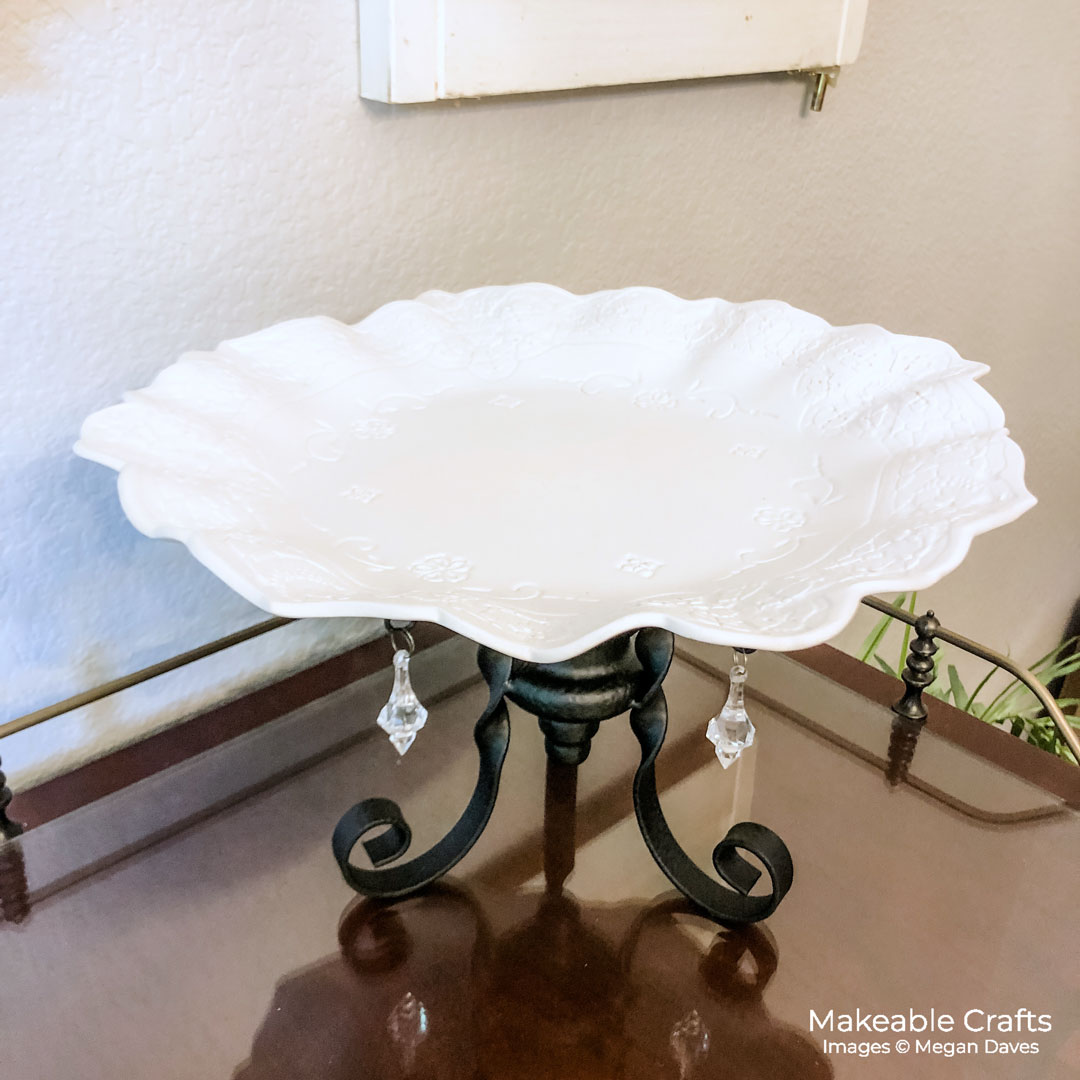 DIY Cake Stand made all from recycled crafts supplies - see how to make your own!
