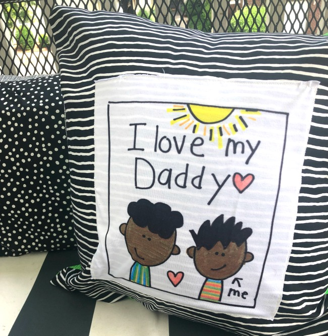 This pillow made with fabric scraps brings recycled crafts to a new cute level!