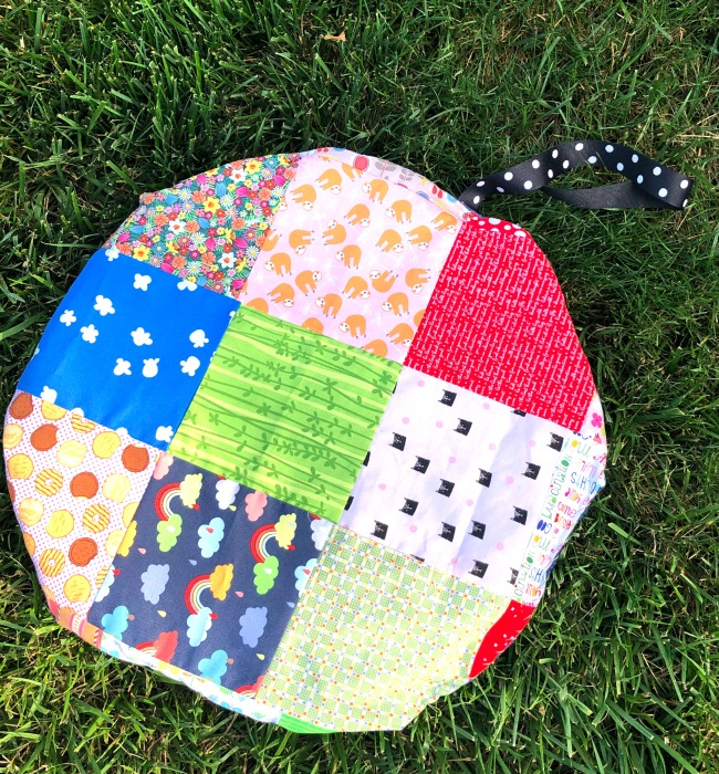 Recycled crafts cushion from scraps of fabric