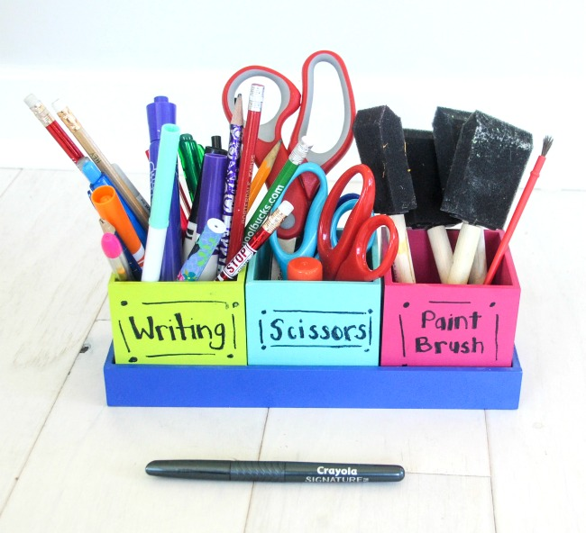 This cute crafts storage set was made using recycled crafts supplies - what is better than that?