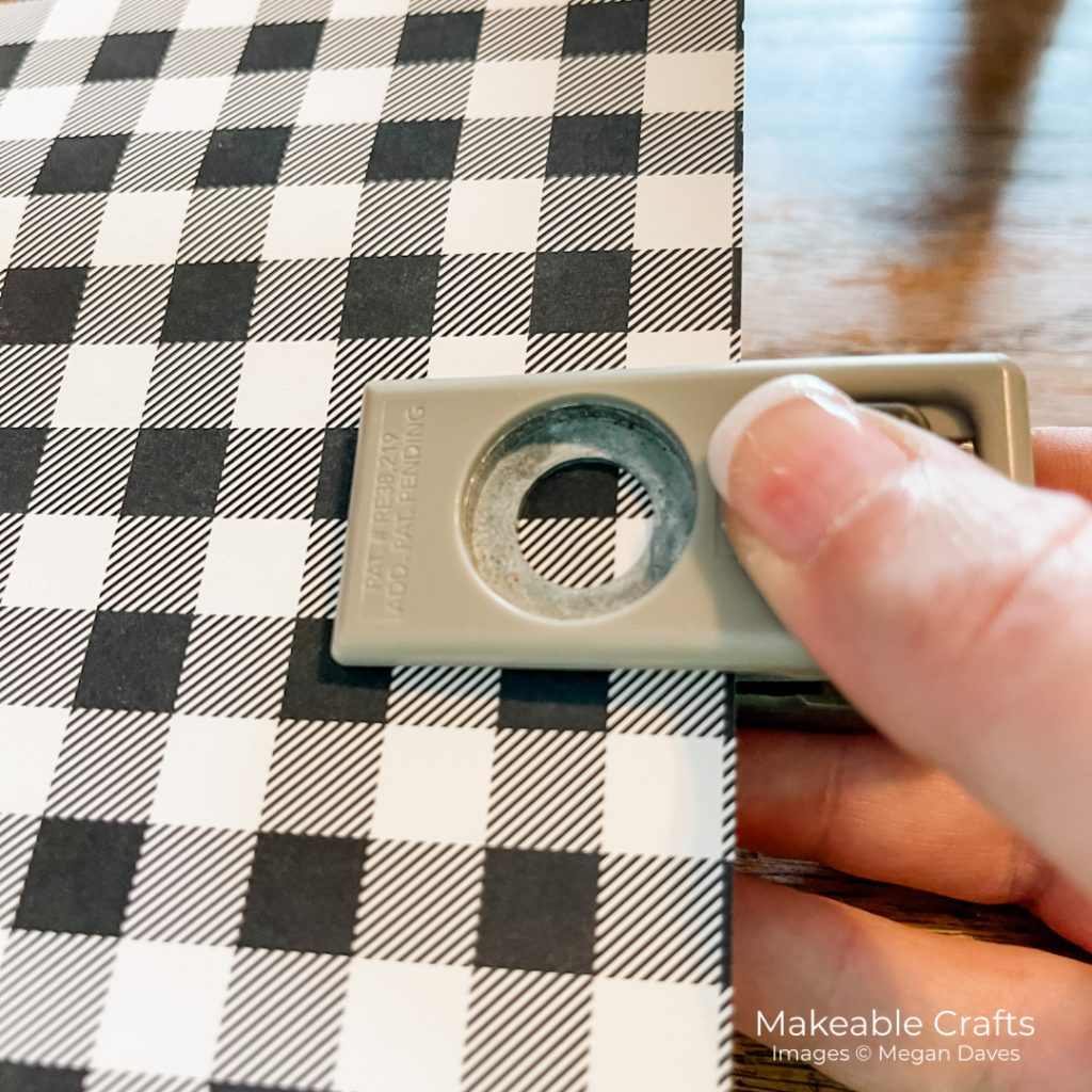 use your half inch hole punch on your patterned paper